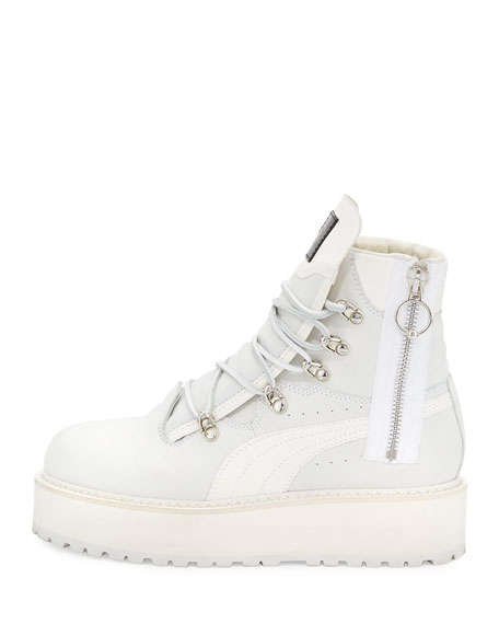 hot sale online 6db15 7cc7f Leather Platform Sneaker Boot, White