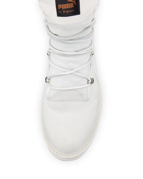 Fenty Puma by Rihanna Leather Platform Sneaker Boot, White