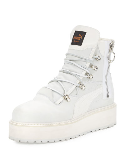 Leather Platform Sneaker Boot, White