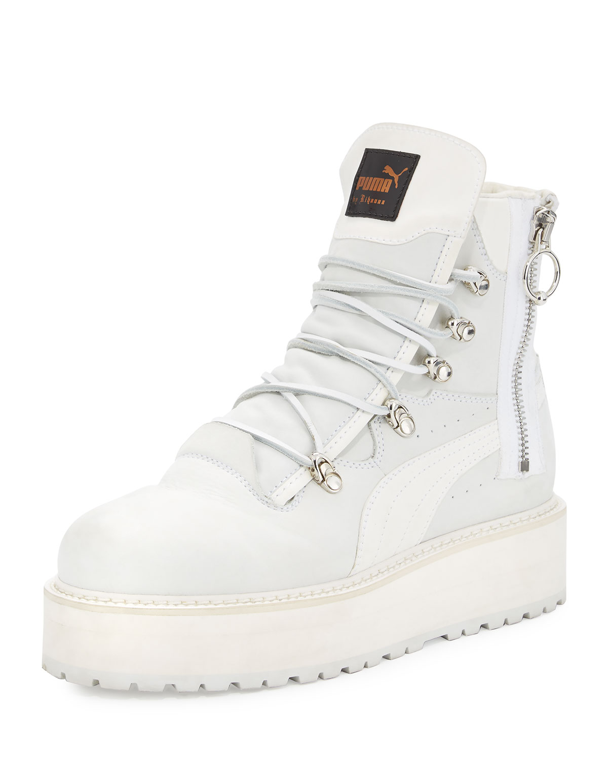 hot sale online 64e25 83402 Leather Platform Sneaker Boot, White