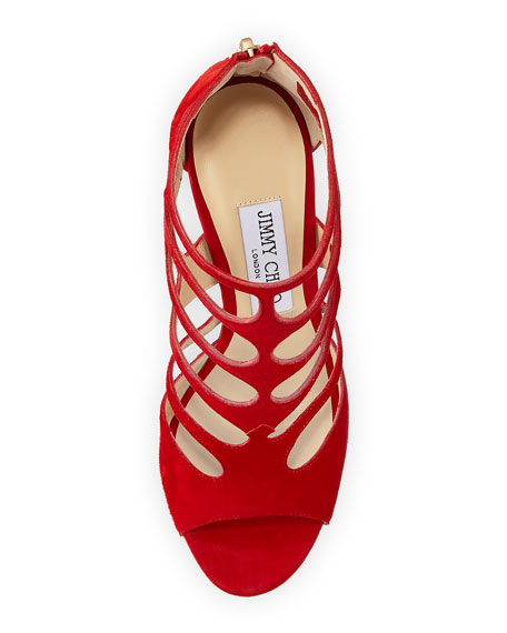 Ren Suede Caged 100mm Sandal, Red