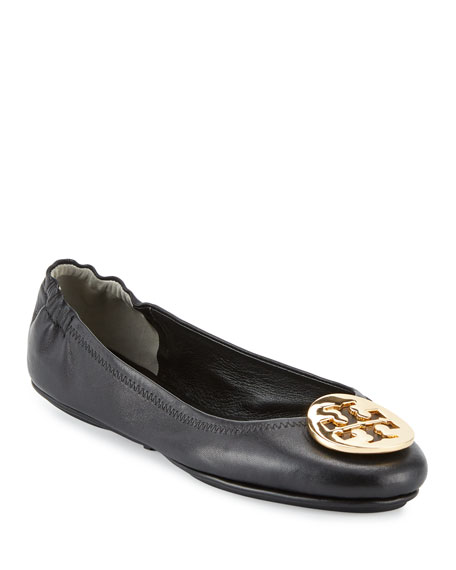 Tory Burch Minnie Travel Logo Ballerina Flat, Black/Gold