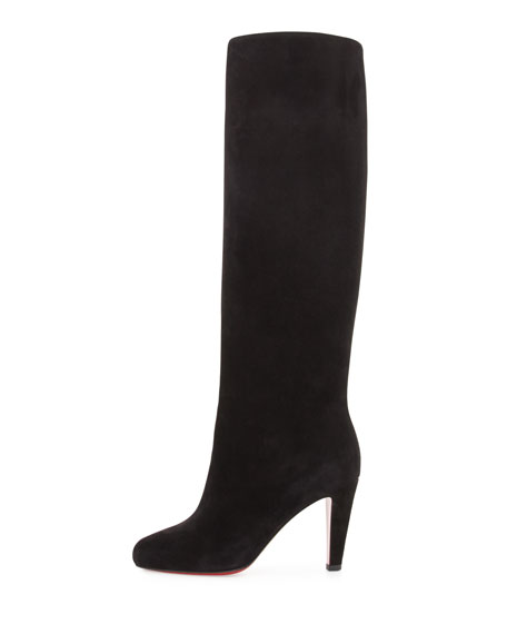 Suede 85mm Red Sole Knee Boot, Black