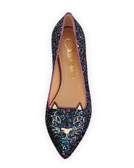 Mid-Century Kitty Glitter Flat, Night Sky Blue/Amethyst