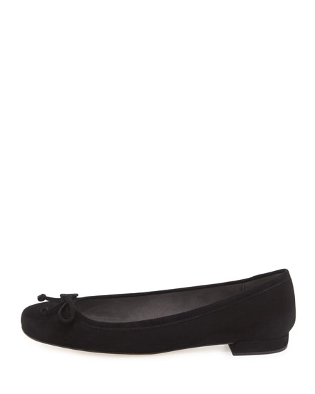 Shoestring Suede Ballerina Flat, Black