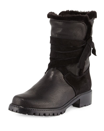 Snowfield Faux-Shearling Ankle Boot, Nero