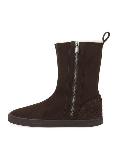 Shearling Fur-Lined Skate Boot, Espresso