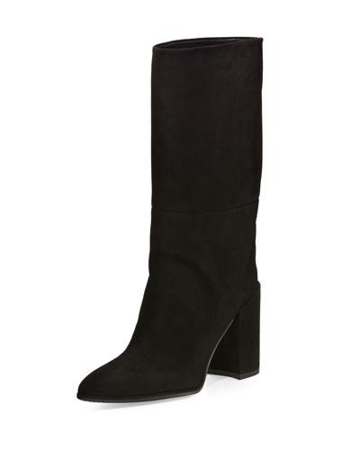 Straighten Pointed-Toe Suede Boot, Black