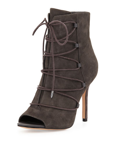 Asher Peep-Toe Lace-Up Bootie, Gray