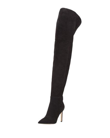 Bernadette Pointed-Toe Over-the-Knee Boot, Black