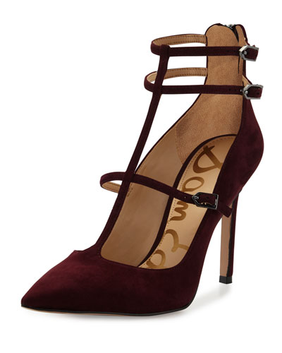 Hayes Suede Caged Pointed-Toe Pump, Port Wine