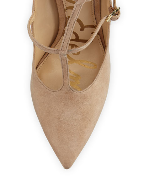 Hayes Suede Caged Pointed-Toe Pump, Golden Caramel