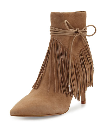 Marion Pointed-Toe Fringe Bootie, Oatmeal