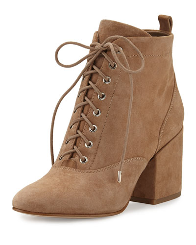 Tate Suede Chunky-Heel Bootie, Oatmeal