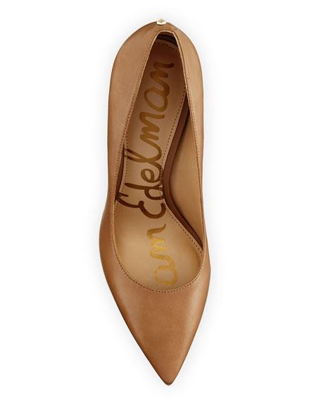 Hazel Pointed-Toe Leather Pump, Golden Caramel