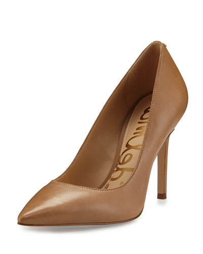 Hazel Pointed-Toe Leather Pump, Golden Caramel