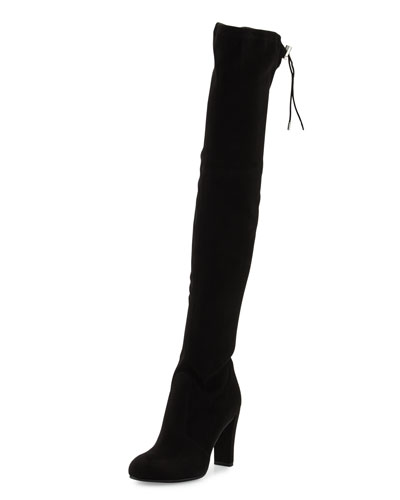 Kent Suede Over-the-Knee Boot, Black