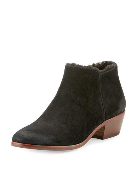 Petty Suede Faux-Shearling Ankle Boot, Black