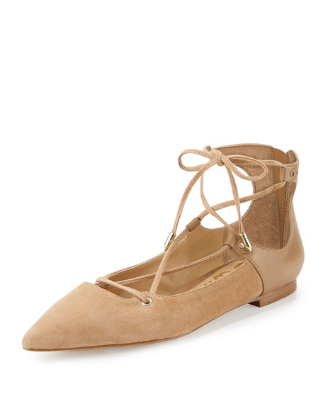 Rosie Pointed-Toe Lace-Up Flat, Golden Caramel