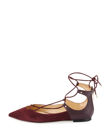 Rosie Pointed-Toe Lace-Up Flat, Port Wine
