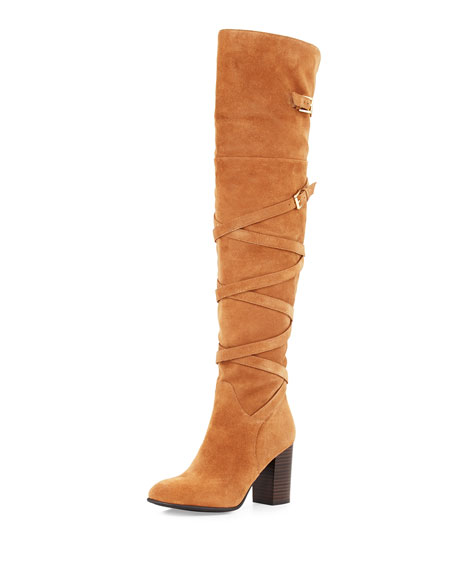 Sable Strappy Suede Over-the-Knee Boot, Golden Caramel