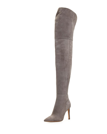 Bernadette Pointed-Toe Over-the-Knee Boot, Gray Frost