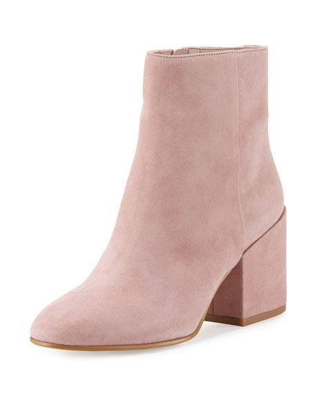 Sam Edelman Taye Suede Chunky-Heel Bootie, Pink Mauve