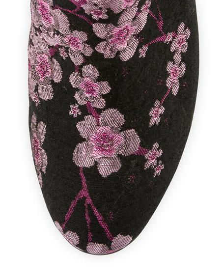 Taye Floral Chunky-Heel Bootie, Pink/Multi