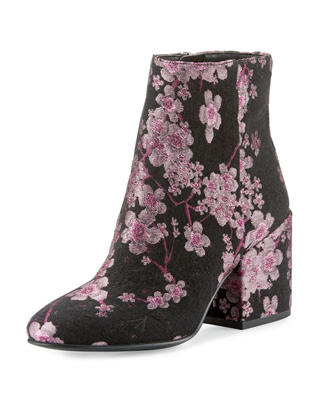 Taye Floral Chunky-Heel Bootie, Pink/Multi