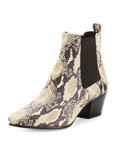 Reesa Snake-Embossed Chelsea Boot, Modern Ivory