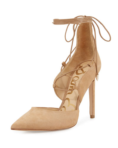 Helaine Suede Lace-Up Pump, Golden Caramel