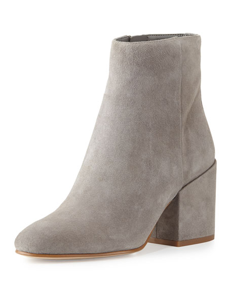 Taye Suede Chunky-Heel Bootie, Gray Frost