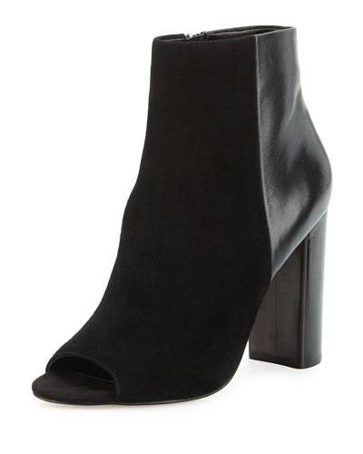 Yarin Suede & Leather Peep-Toe Bootie, Black