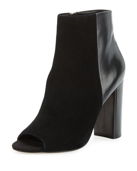 Yarin Suede & Leather Peep-Toe Bootie, Black