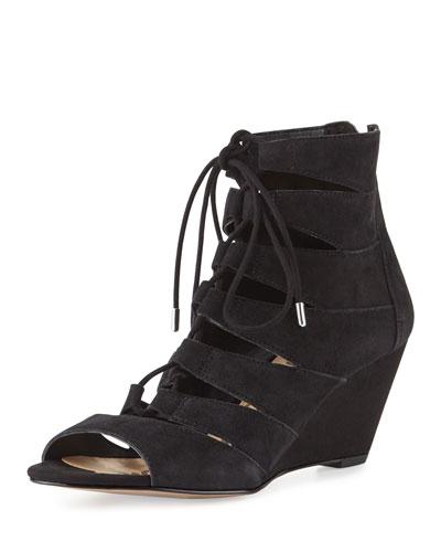 Santina Lace-Up Wedge Sandal, Black
