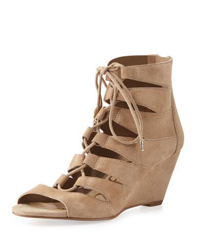 Santina Lace-Up Wedge Sandal, Oatmeal
