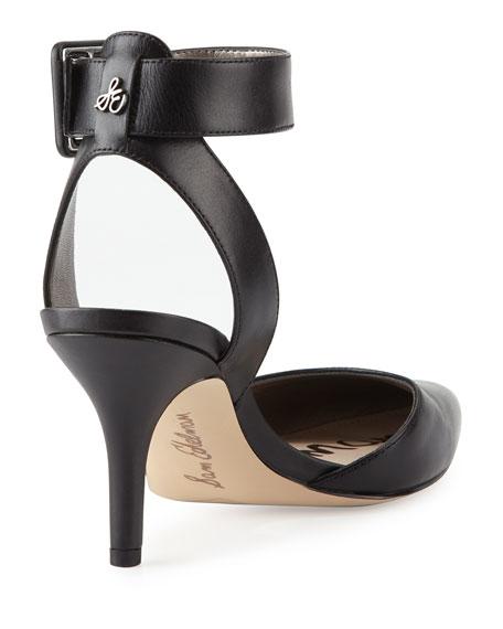 Okala Leather Ankle-Wrap Pump, Black