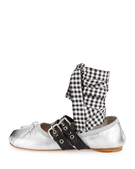 Metallic Belted Ankle-Wrap Ballerina Flat, Argento