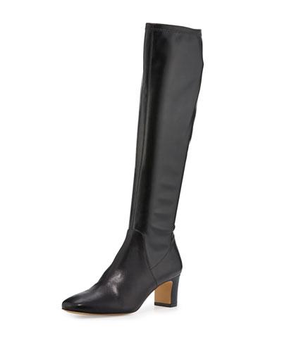 Jam Leather Block-Heel Knee Boot, Black