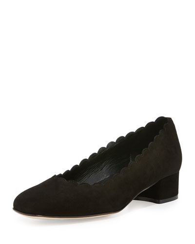 Hali Scalloped Low-Heel Pump, Black