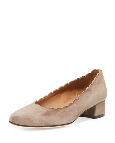Hali Scalloped Low-Heel Pump, Taupe