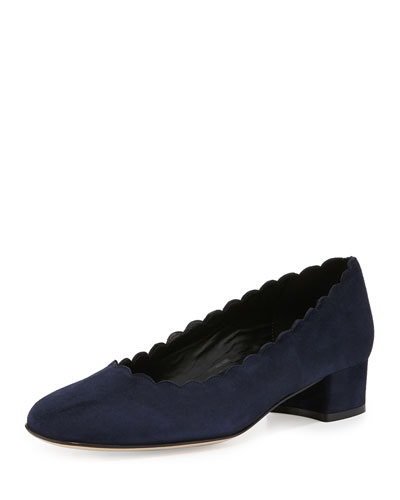 Hali Scalloped Low-Heel Pump, Navy