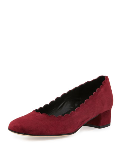 Hali Scalloped Low-Heel Pump, Bordeaux
