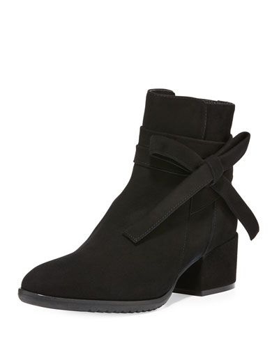 Farris Bow-Wrap Ankle Boot, Black