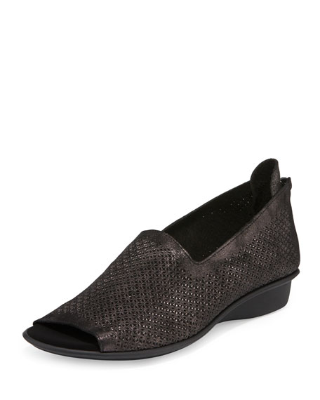 Eadan Open-Toe Laser-Cut Flat, Black Oasis
