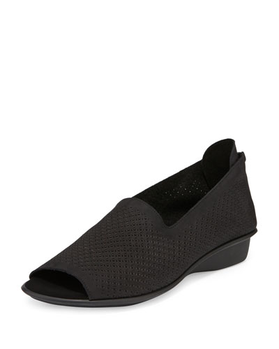 Eadan Open-Toe Laser-Cut Flat, Black