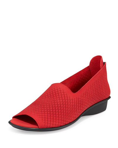 Eadan Open-Toe Laser-Cut Flat, Red