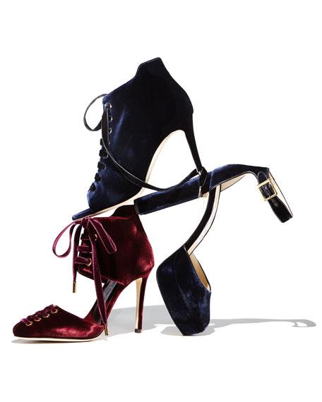 Mari 100mm Ankle-Tie Pump, Bordeaux