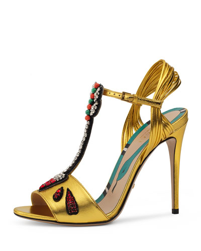 Allie Arrow-Appliqué Leather Sandal, Oro