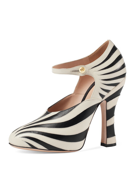 Lesley Zebra-Inlay Mary Jane Pump, Black/White